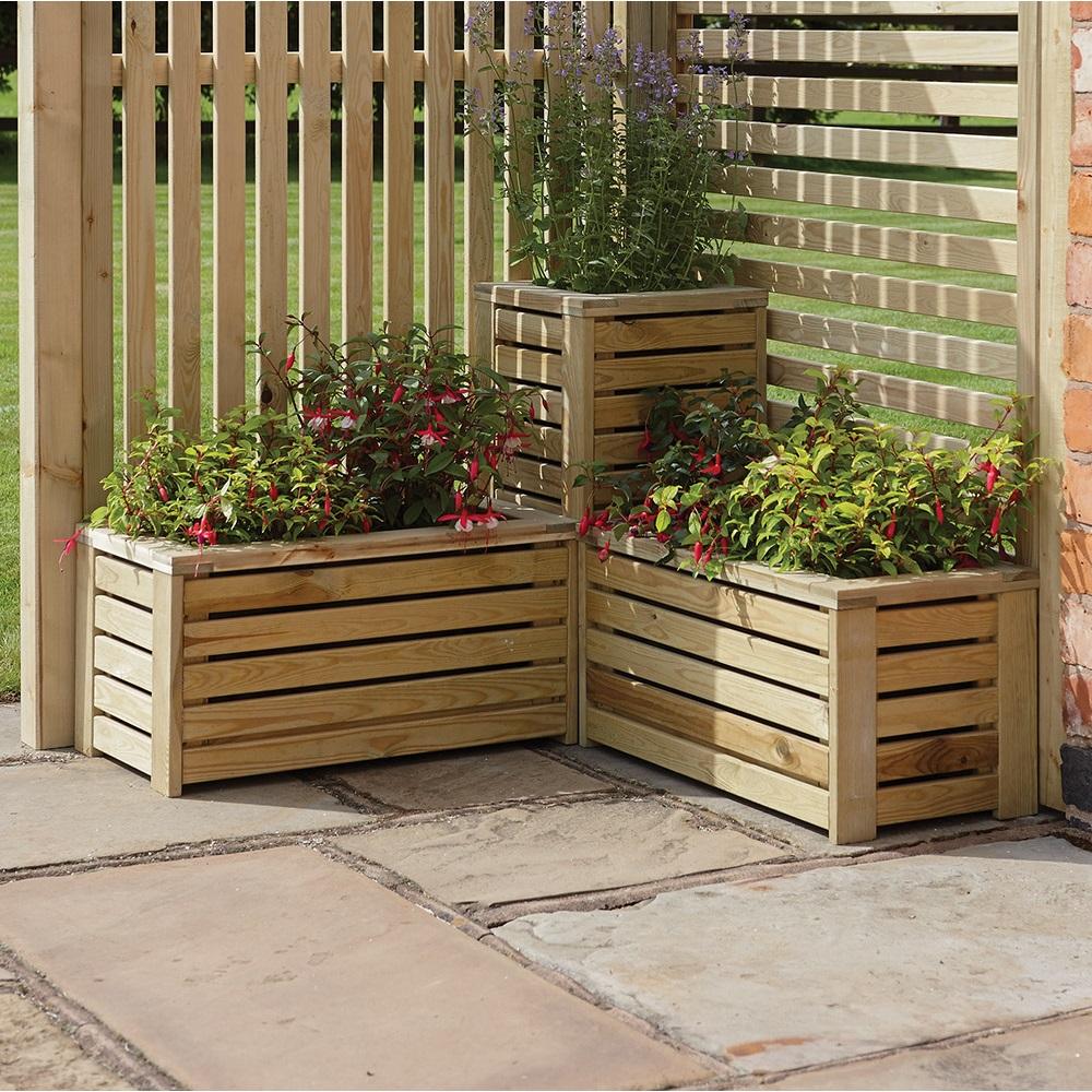 Rowlinson Garden Planter & Screen Corner Set - Rowlinson Garden ...