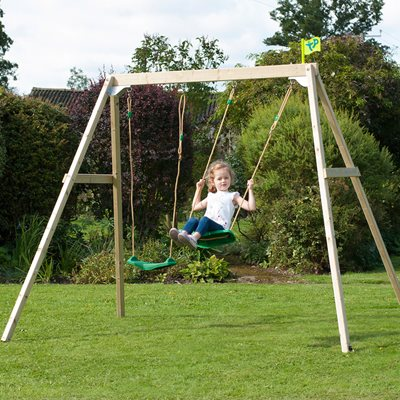 TP TOYS FOREST DOUBLE WOODEN SWING SET