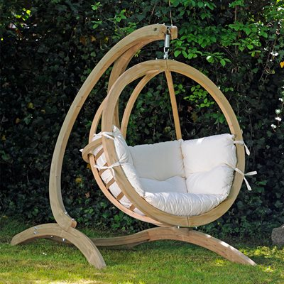 GLOBO GARDEN HANGING CHAIR & STAND in Natura Cream