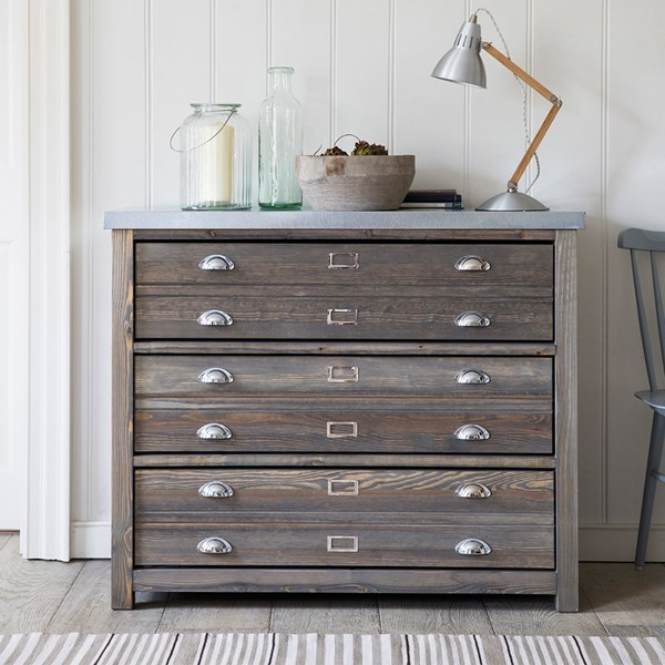 Garden Trading Aldsworth Architect's Cabinet with 3 Drawers