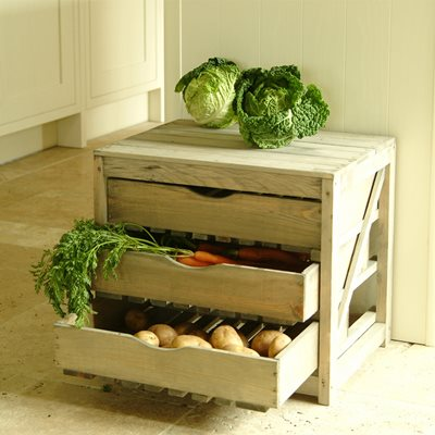 VEGETABLE STORAGE UNIT 3 DRAWER in Pine