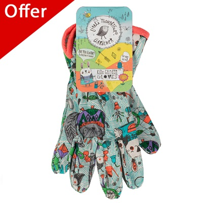 LITTLE THOUGHTFUL GARDENER KIDS GARDEN GLOVES in Woodland Animal Print