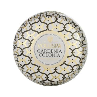 VOLUSPA CANDLE in 2 Wick Gardenia Colonia (Maison Blanc-11oz Decorative Tin)