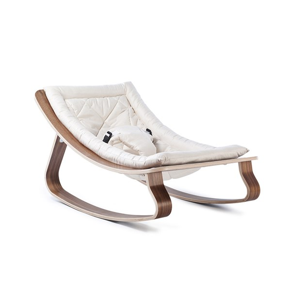 Levo Baby Rocker in Walnut Wood with Gentle White Cushion