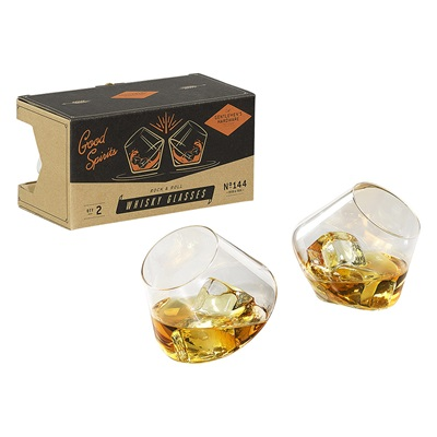 GENTLEMEN'S HARDWARE ROCKING WHISKY GLASSES Set of 2