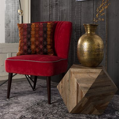 GEO DECO SIDE TABLE in Recycled Teak