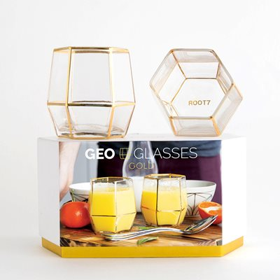Set of 2 Geo Tumbler Glasses in Gold
