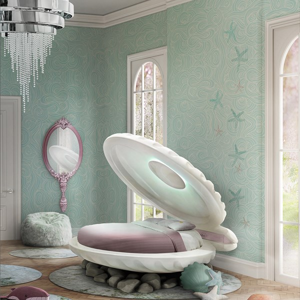 Little Mermaid Clamshell Shaped Bed in Rainbow Finish