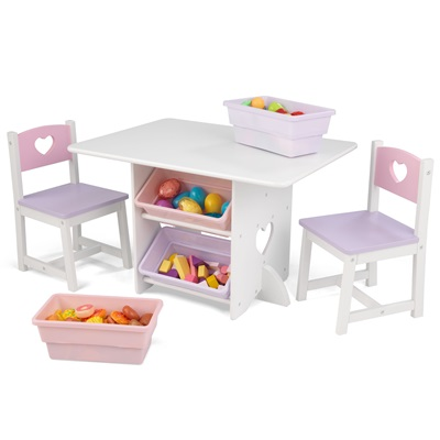 KIDS TABLE AND CHAIR SET in Heart Design