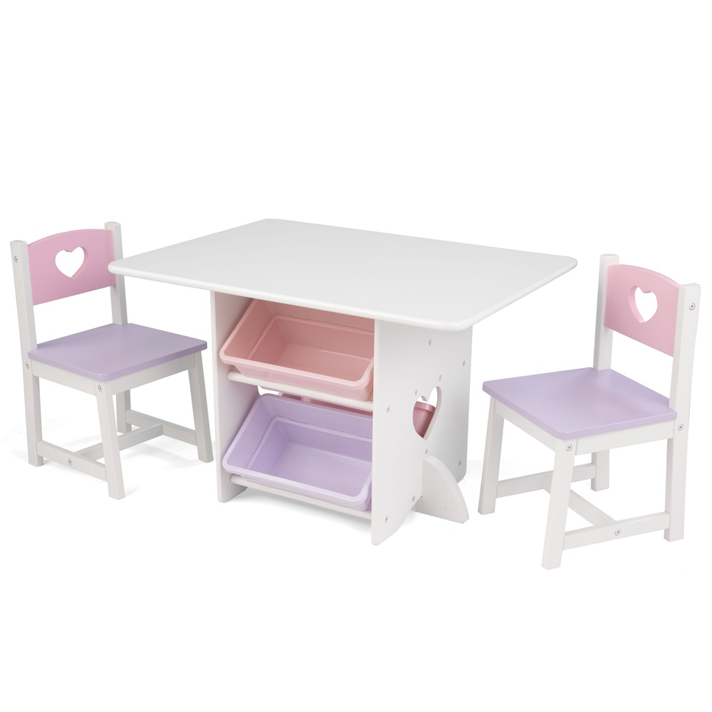 KIDS TABLE AND CHAIR SET in Heart Design Girls Bedroom Furniture – Girls Table and Chair