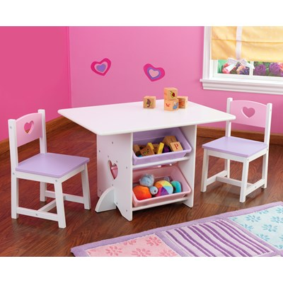 Kids Table And Chair Set In Heart Design Girls Bedroom Furniture C