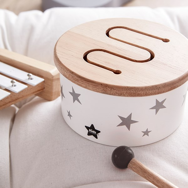 Children's Mini Wooden Toy Drum in White