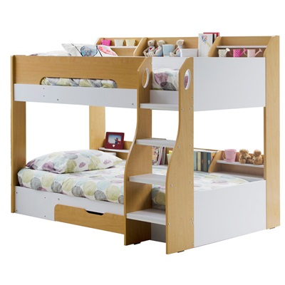 kids flick bunk bed in maple with storage drawer flair