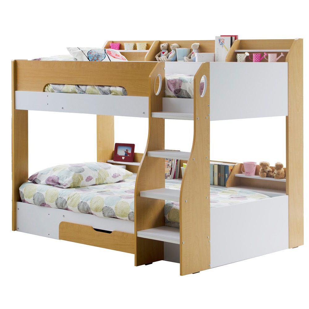 Kids flick bunk bed in maple with storage cuckooland for Toddler bunk beds