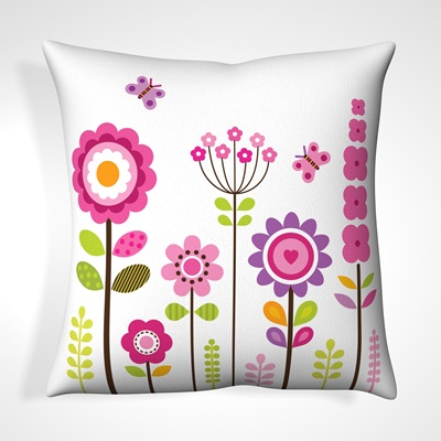 CUSHION in Butterfly Floral Design