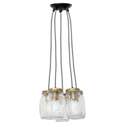 CULINARY CONCEPTS CLUSTER OF FIVE VINTAGE HANGING JAR LIGHTS
