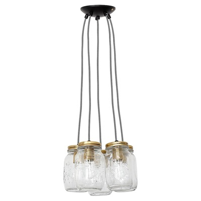 CLUSTER OF FIVE VINTAGE HANGING JAR LIGHTS