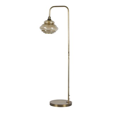 OBVIOUS GLASS FLOOR LAMP in Antique Brass