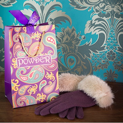 TALLULAH Ladies Designer Wool Gloves in Auberg & Champagne