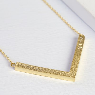 PERSONALISED CHEVRON NECKLACE in Gold