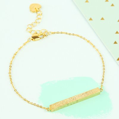 PERSONALISED HORIZONTAL BAR BRACELET in Gold