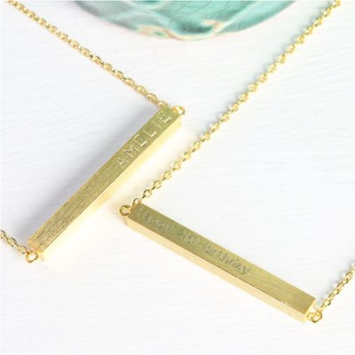 Personalised Horizontal Bar Necklace in Gold
