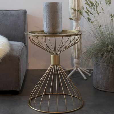 KELLY SIDE TABLE with Tray in Metallic Gold