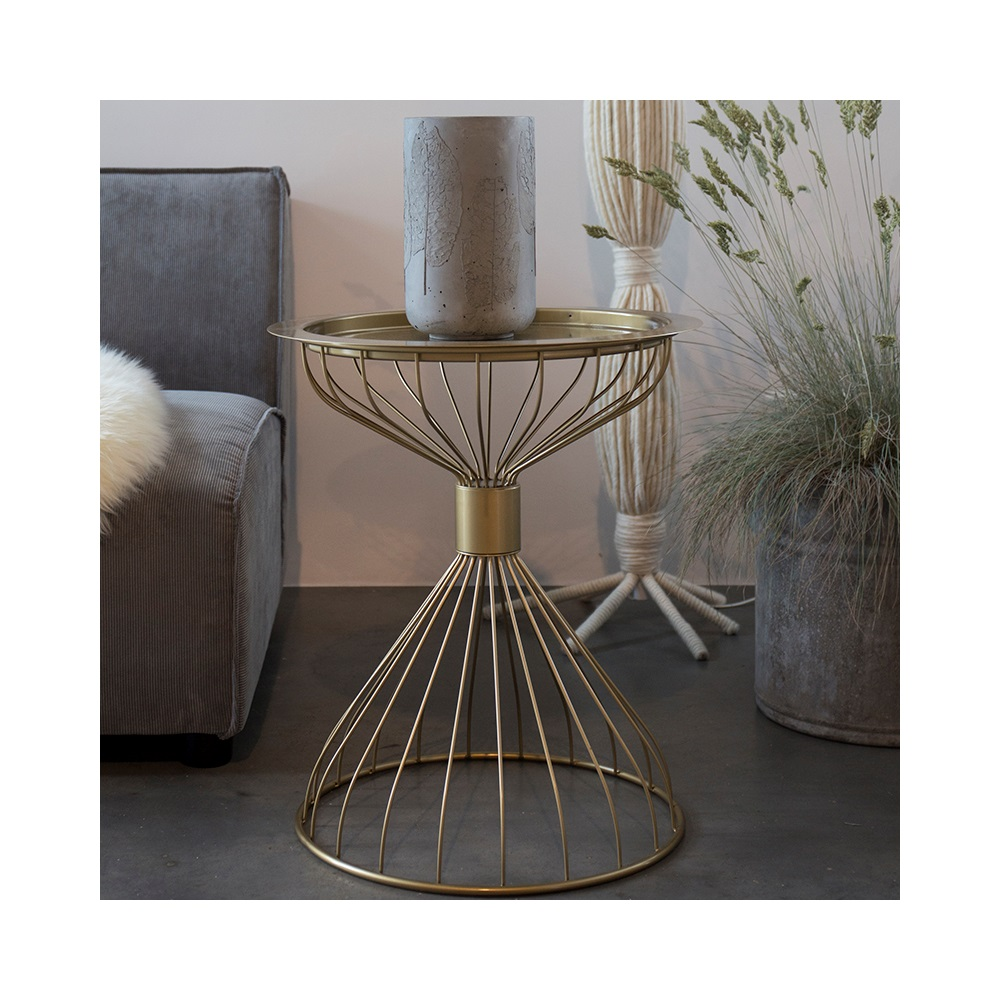 Coffee Table Tray Gold: Zuiver Kelly Side Table With Tray In Metallic Gold