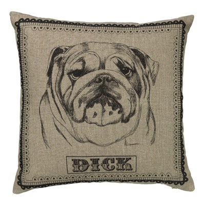 DICK NATURAL LINEN BULL DOG CUSHION By Amy Brocklehurst