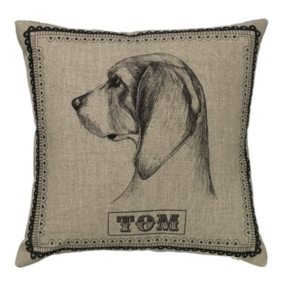 TOM NATURAL LINEN BEAGLE CUSHION By Amy Brocklehurst