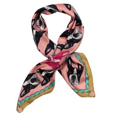 BOSTON TERRIER PINK SILK TWILL SCARVES - By Lisa Bliss