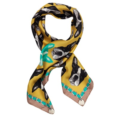 BOSTON TERRIER YELLOW SILK TWILL SCARVES - By Lisa Bliss
