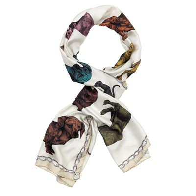 DACHSHUND SILK TWILL SCARF By Lisa Bliss