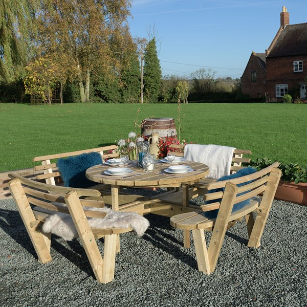Grange Round Garden Table with Backrests