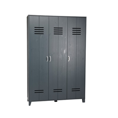 Kids Locker Style 3 Door Wardrobe Granite Pine Cuckooland