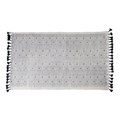 GRAPHIC 100% COTTON RUG in Black and White