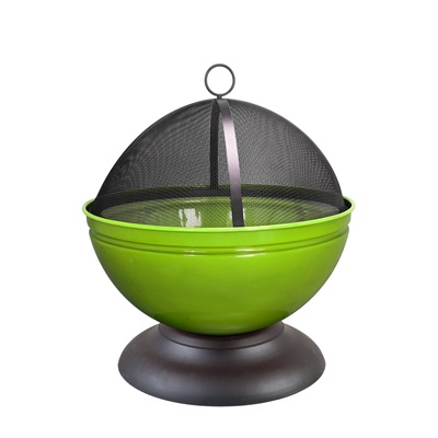 GLOBE ENAMELLED FIRE PIT in Lime with Grill