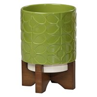 Orla Kiely Ceramic Plant Pot with Wooden Stand in 60's Stem Leaf Green