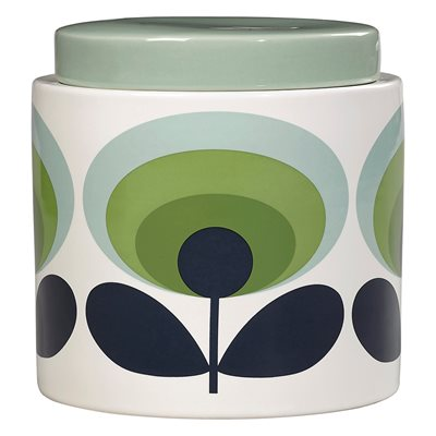 ORLA KIELY CERAMIC 1L STORAGE JAR in 70s Oval Flower Green Print