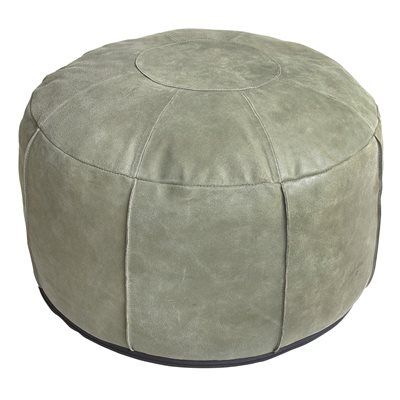 RUSTIC LEATHER POUFFE in Army Green