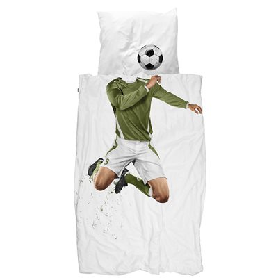 SNURK Childrens Football Duvet Bedding Set in Green