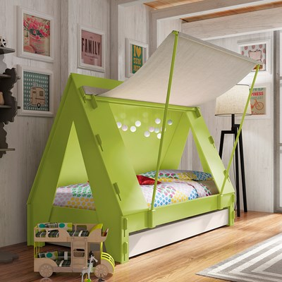 MATHY BY BOLS KIDS TENT CABIN BED with Trundle Drawer & Childrens Tent Cabin Bed in Green by Mathy By Bols | Cuckooland