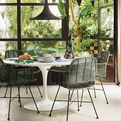 scandi style rattan tub dining chair in olive green home garden