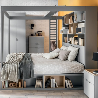 4YOU 4 POSTER KING BED WITH STORAGE & SHELVES in Grey