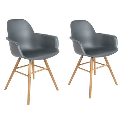 ZUIVER PAIR OF ALBERT KUIP RETRO MOULDED ARMCHAIRS in Dark Grey