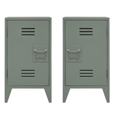 PAIR OF INDUSTRIAL STYLE BEDSIDE CABINETS in Olive Green