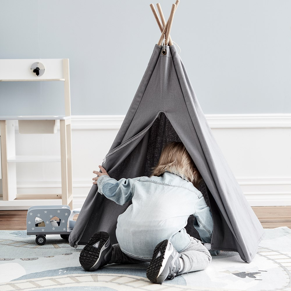 online retailer 4dc82 9a79f Kids Concept Mini Teepee Play Tent in Grey