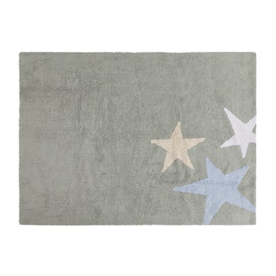 KIDS WASHABLE RUG in Grey & Blue Star Design