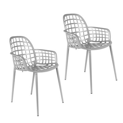 ZUIVER PAIR OF ALBERT KUIP GARDEN ARMCHAIRS in Light Grey