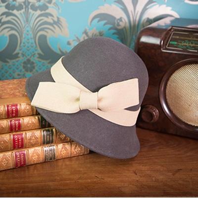 DORIS Pure Wool Designer Women's Hat in Charcoal & Cream